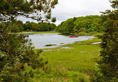 Pine Cones Photograph - Red Boat Chatham Cape Cod by Michelle Wiarda