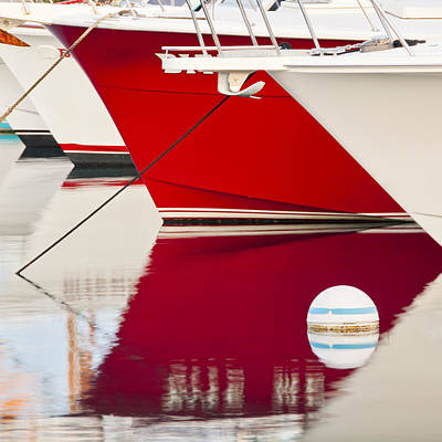 Red Boat Reflection Art Print