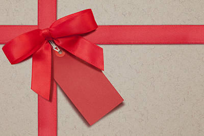 Gift Tag Photograph - Red Bow And Gift Tag by Andrew Dernie