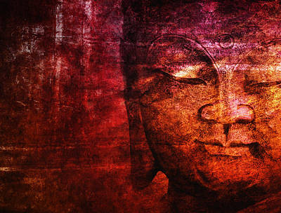 Red Buddha Art Print by Claudia Moeckel
