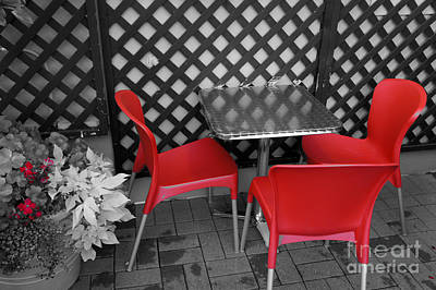 Photograph - Red Cafe Chairs by John  Mitchell