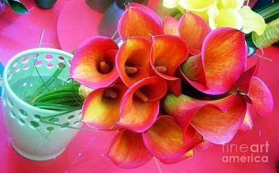 Red Calla Lilies Art Print by AmaS Art