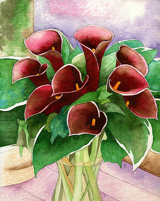 Red Calla Lilies Art Print by Eunice Olson