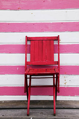 Red Chair And Pink Strips Art Print by Garry Gay