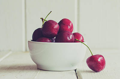 Y120817 Photograph - Red Cherries In White Bowl by Danielle Donders - Mothership Photography