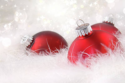 Red Christmas Balls In White Feathers  Print by Sandra Cunningham