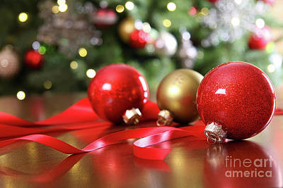Red Christmas Ornaments On A Table Art Print