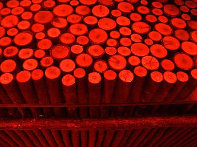 Red Circle Sticks Art Print by Kym Backland