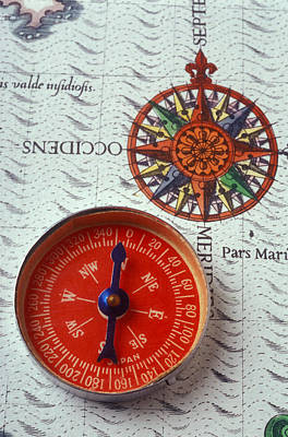 Photograph - Red Compass And Rose Compass by Garry Gay