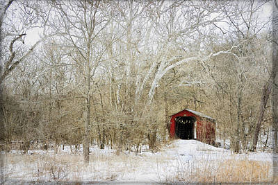 Laura James Photograph - Red Covered Bridge In Snow by Laura James