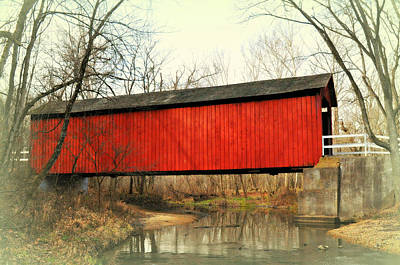 Red Covered Bridge Art Print by Marty Koch