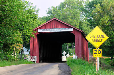 Old Country Roads Photograph - Red Covered Bridge, Princeton, Illinois, Usa by Bruce Leighty