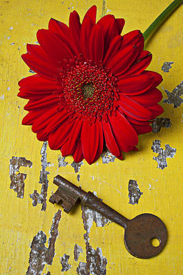Chip Photograph - Red Daisy And Old Key by Garry Gay
