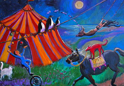 Painting - Red Dog Circus by Anne Marie Bourgeois