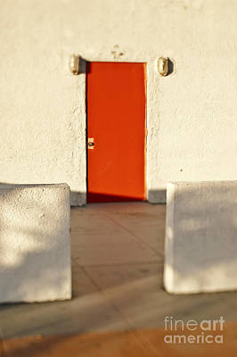 Red Door In Wall Print by Eddy Joaquim