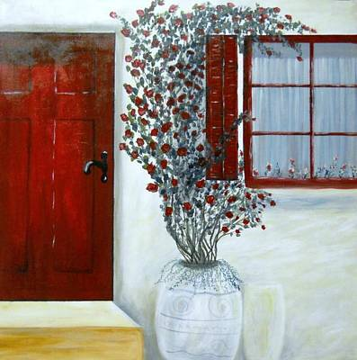 Painting - Red Door Rose by Natascha de la Court