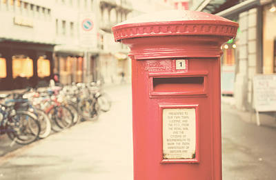 Red English Post Box In Lucerne, Switzerland Art Print by Copyright Laura Evans. All Rights Reserved.