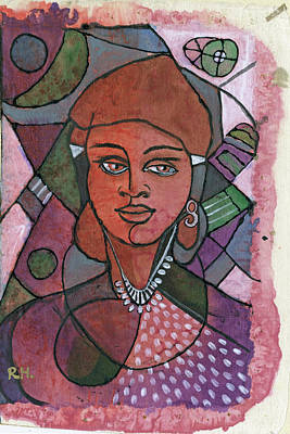 Green Painting - Red Ethnic Woman In Brown Purple And Green by Rachel Hershkovitz