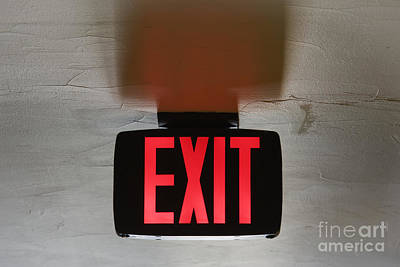 Red Exit Sign On Ceiling Print by Jeremy Woodhouse