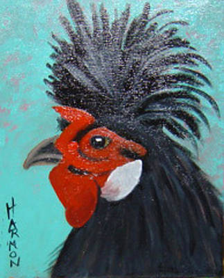 Red Faced Rooster Art Print by Margaret Harmon