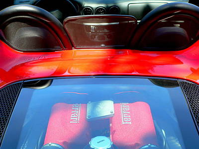 Photograph - Red Ferrari Engine  by Jeff Lowe