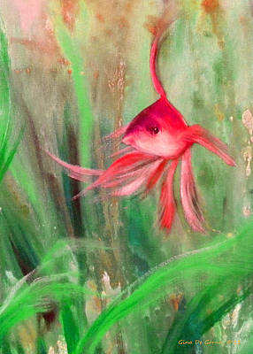 Painting - Red Fish by Gina De Gorna