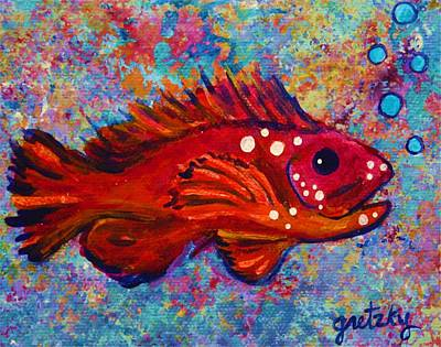 Red Fish Art Print by Paintings by Gretzky