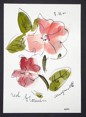 Amagansett Painting - Red Flower Amagansett by David Rufo