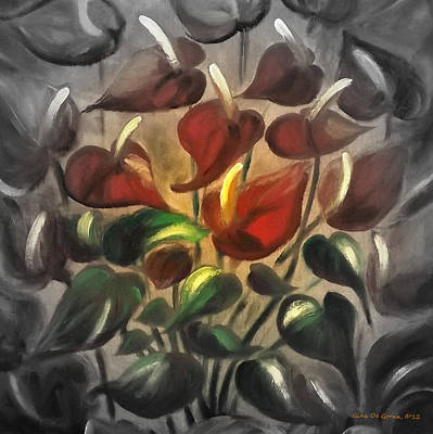 Gina Gray Painting - Red Flowers 2 by Gina De Gorna