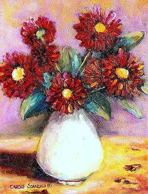 Painting - Red Flowers In A White Vase  by Carole Spandau