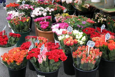 Photograph - Red Flowers In French Flower Market by Carla Parris