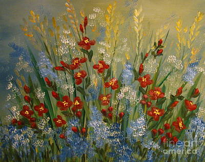 Painting - Red Flowers In The Garden by Leea Baltes