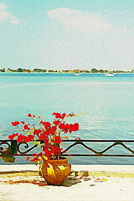 Art Print featuring the photograph Red Flowers On The Bay by Joan McArthur