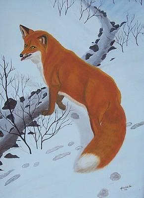 Red Fox In Snow Print by Melinda Fox