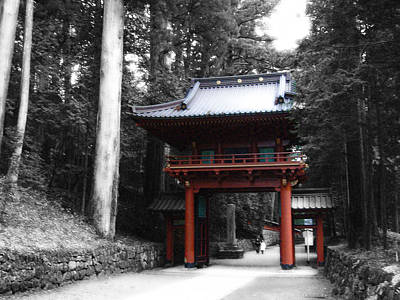Samurai Photograph - Red Gate by Naxart Studio
