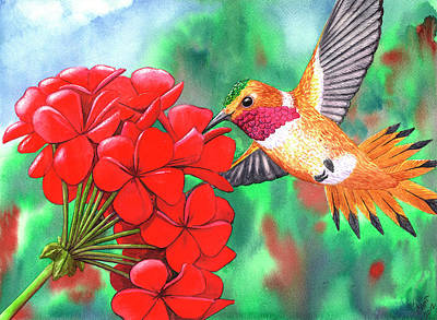 Rufous Hummingbird Painting - Red Geranium by Catherine G McElroy