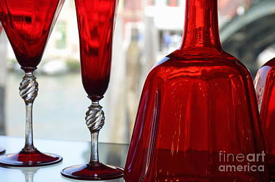Murano Glass Photograph - Red Glasses On Shelves In Murano by Sami Sarkis