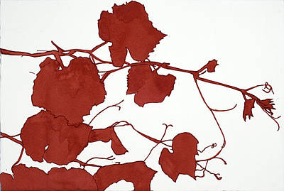 Grapeleaves Painting - Red Grape Leaves by Alexandra Sheldon