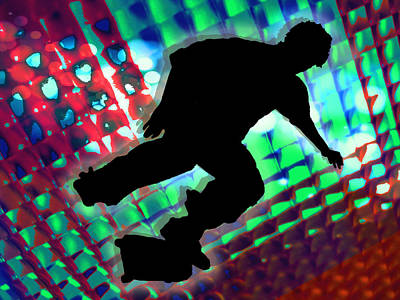 Extreme Sports Painting - Red Green And Blue Abstract Boxes Skateboarder by Elaine Plesser