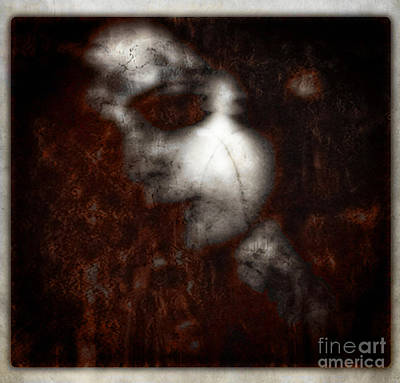 Red Hair On Marble Skin Art Print by Diane Falk