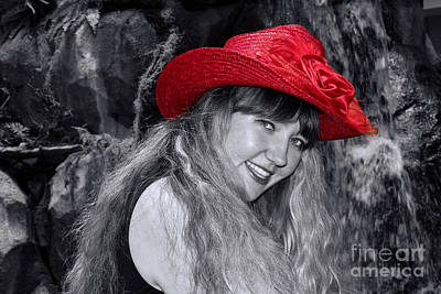 Red Hat And A Blonde Black And White Print by Mariola Bitner