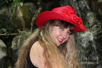 Behind The Rocks Photograph - Red Hat And A Blonde by Mariola Bitner