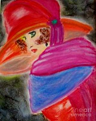 Art Print featuring the painting Red Hat by Lori  Lovetere