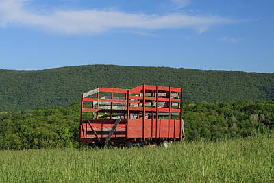 Photograph - Red Hay Wagon In Green Mountain Field by John Stephens