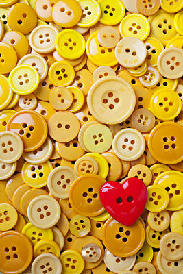 Photograph - Red Heart And Yellow Buttons by Garry Gay