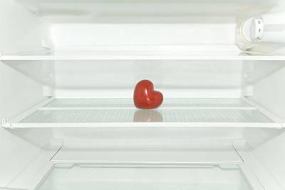 Red Heart In Refrigerator Art Print