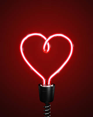 Heart-shaped Lights Photograph - Red Heart Shaped Energy Saving Lightbulb by Atomic Imagery