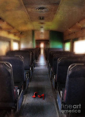 Photograph - Red High Heel Shoes Left On Train by Jill Battaglia