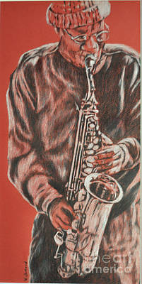 Red Hot Sax Art Print