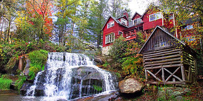 Red House By The Waterfall 2 Art Print